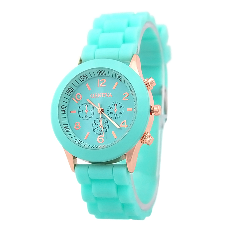 Hot selling women geneva colorful silicone jelly wristwatch Three circles Display gold frame candy band quartz watches B019(China (Mainland))