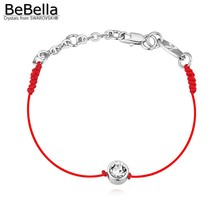 Thin red cord thread string rope bracelet with Crystals from Swarovski and Rhodium gold plated chain for 2016 women girls gift(China (Mainland))