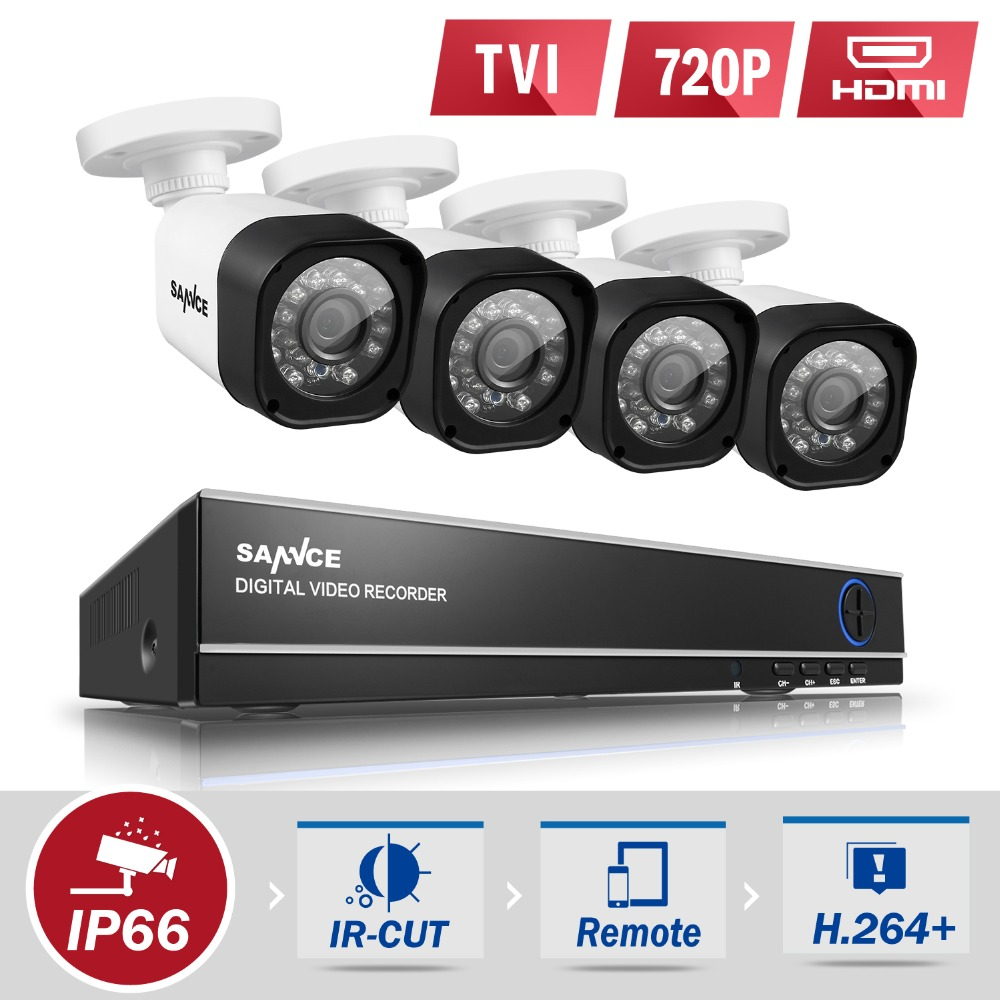 SANNCE 4 CH CCTV DIY Kit 1080N 720P Security Camera system 4IN1 1080 N DVR Video Surveillance kits HDD(China (Mainland))