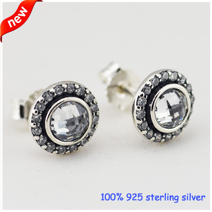 Compatible With Pandora Jewelry Brilliant Lagacy Silver Stud Earrings With CZ New 100% 925 Sterling Silver Earring DIY Wholesale<br><br>Aliexpress