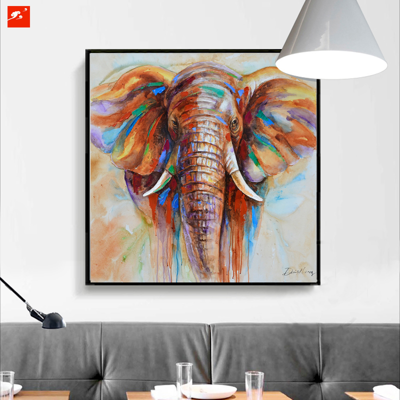 Wildlife colorful elephant picture canvas print plus 50 oil painting home decor picture for Colorful elephant home decor