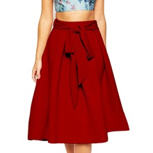 Alishebuy Plus size Women Polyester Vintage Stretch High Waist A-line Skirts Solid Mid-calf Skirt Women New Spring Autumn 31