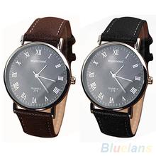 Hombres de números romanos Faux Leather Band cuarzo reloj de pulsera analógico negocios 2MPW 2WAK