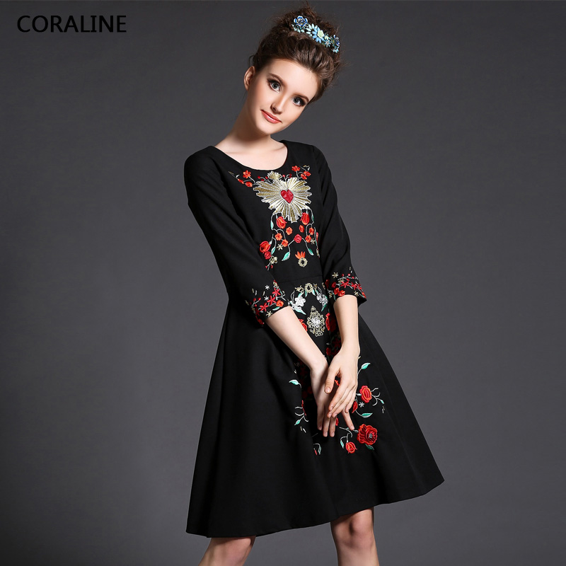 2016 Spring Summer Dress plus size Dresses Women dress clothing plants embroidered one-piece medium-long mm slim - Xuzhou jingjing international trading company store
