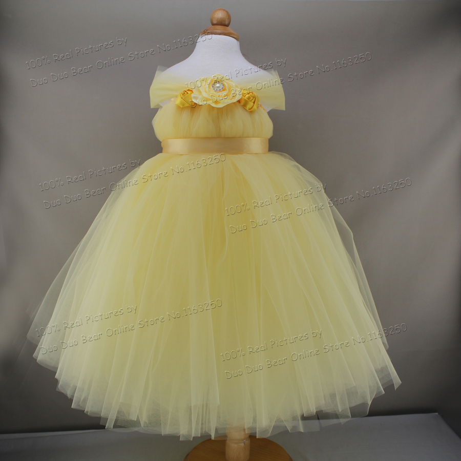 2016 Light Yellow Tulle Infant Princess Dress For Baby Tutu First Birthday Girl Party Dresses Wedding Baby Girls Clothes(China (Mainland))