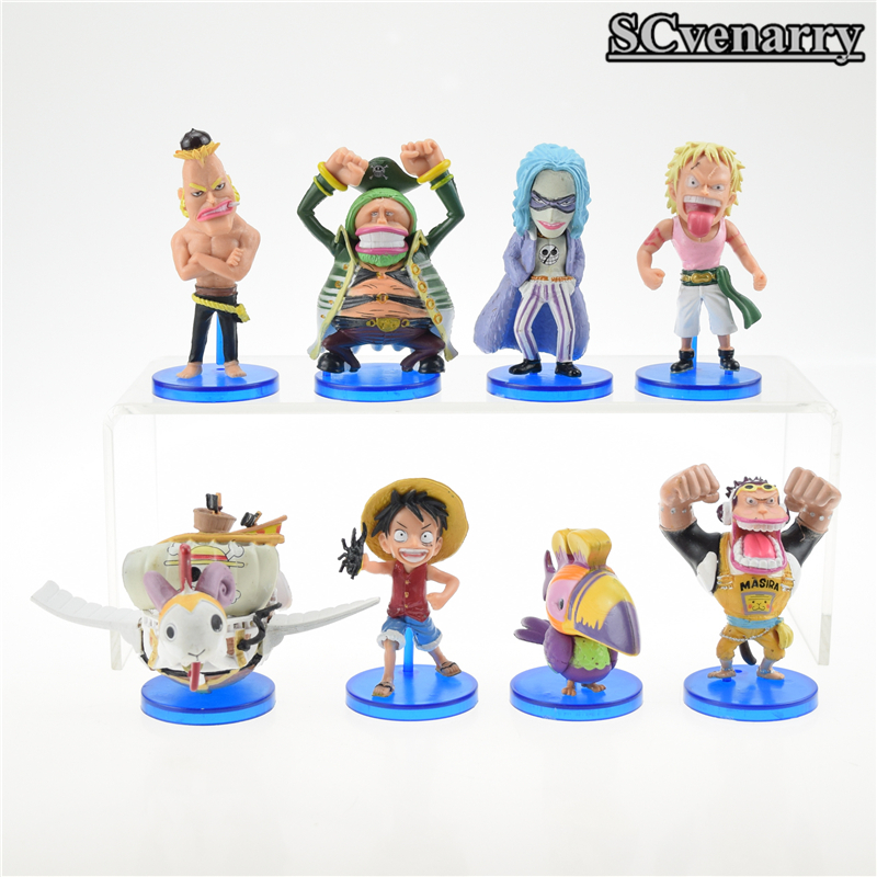 8pcs/set One Piece Luffy Going Merry Action Figures Mont Blanc Cricket Masira PVC Action Figure Model Toy 8cm(China (Mainland))