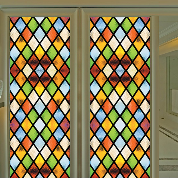 Church stained glass lattice film clubs ceiling entrance door wardrobe stained decorative plaid window film(China (Mainland))
