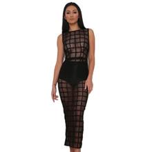 GD197 New S-XL Womens Sexy Sleevelss Midi Black Sheer Mesh Grid Bodycon Dress Casual Vestidos(China (Mainland))