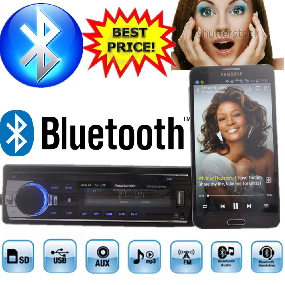 new car radio bluetooth car stereo 12V mp3 player car audio Bluetooth radio SD Card USB Port AUX IN PHONE 1 Din in dash 520(China (Mainland))