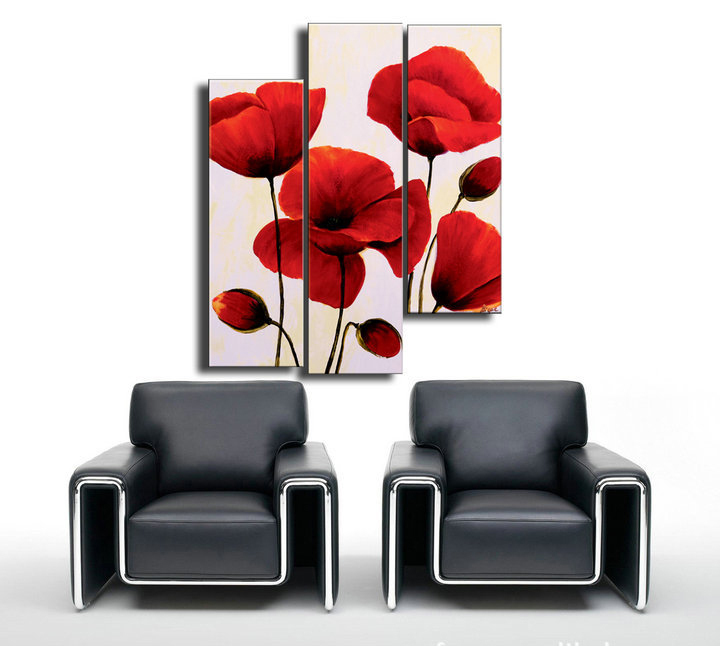 Hand painted modern abstract oil painting flowers set of 3 for Set of three canvas paintings
