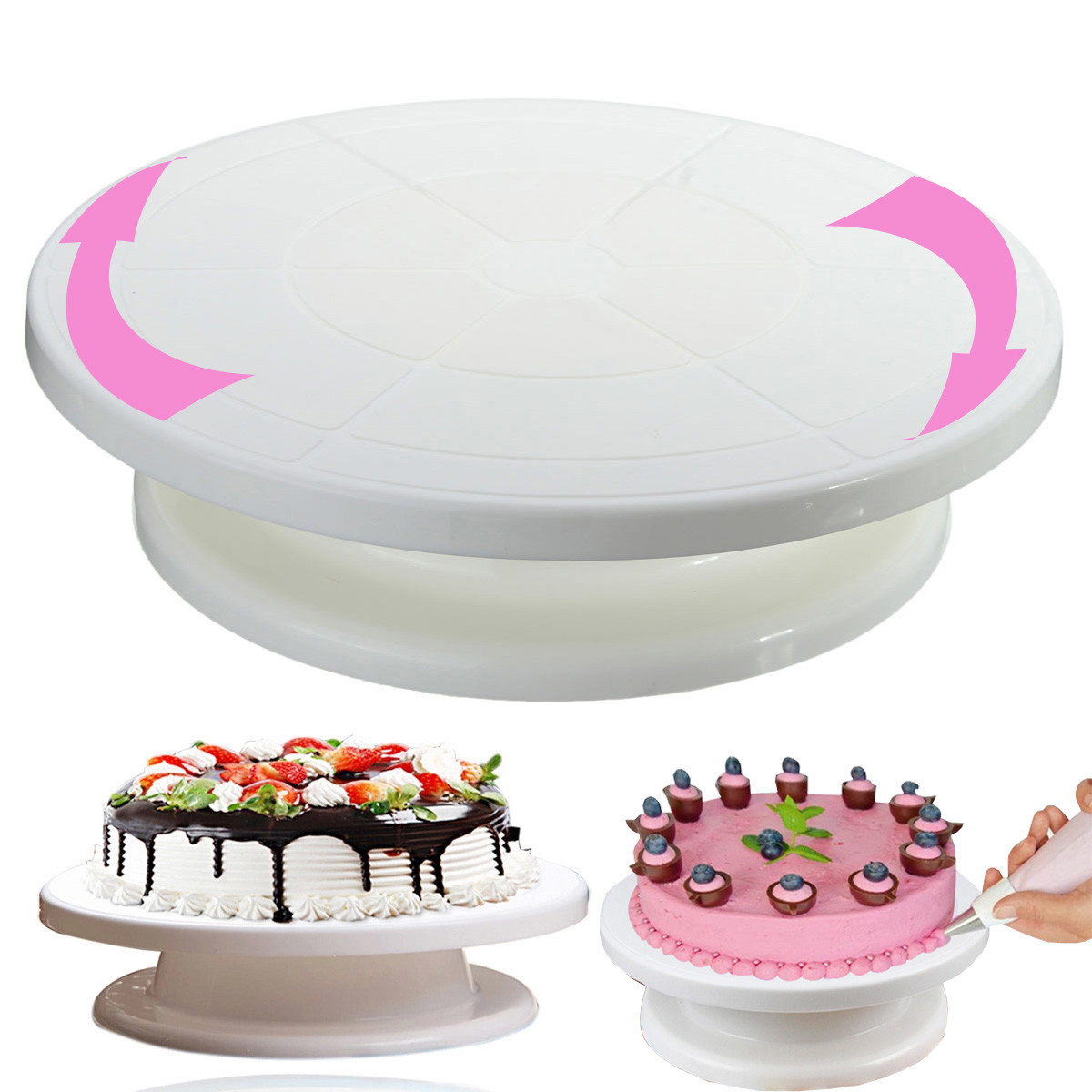 "Cake Decorating Rotating Revolving Icing Turntable Stand Shelf Kitchen Bakeware Cake Cupcake Display Tools 11""28cm(China (Mainland))"