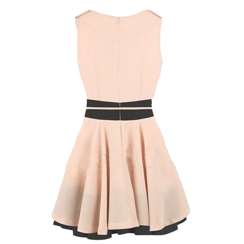 Платье шифон с круглым вырезом mini без рукавов, сладкий элегантный женщины / пэчворк туника женщины / лето женщины одежда морской синий и розовый