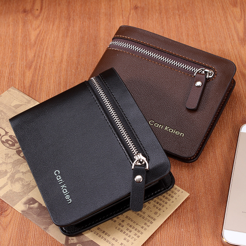Fashion 2015 Men Wallets Famous Brand Genuine Leather Mens Wallet Male Money Purse With Zipper Wallets New Design Men Wallet(China (Mainland))