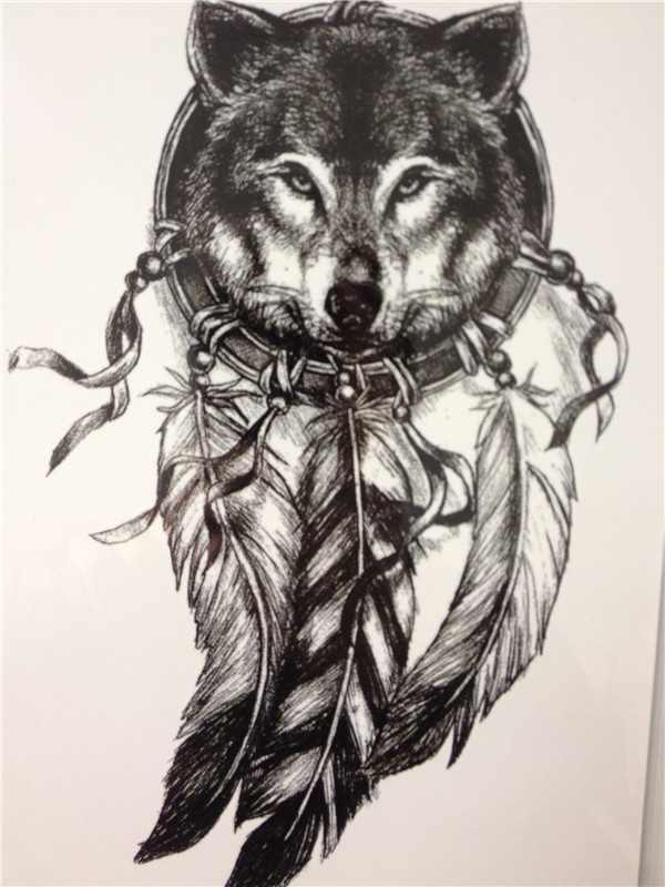 2016 Wolf with Feather Cool Beauty Tattoo Waterproof Hot Temporary Tattoo Stickers(China (Mainland))