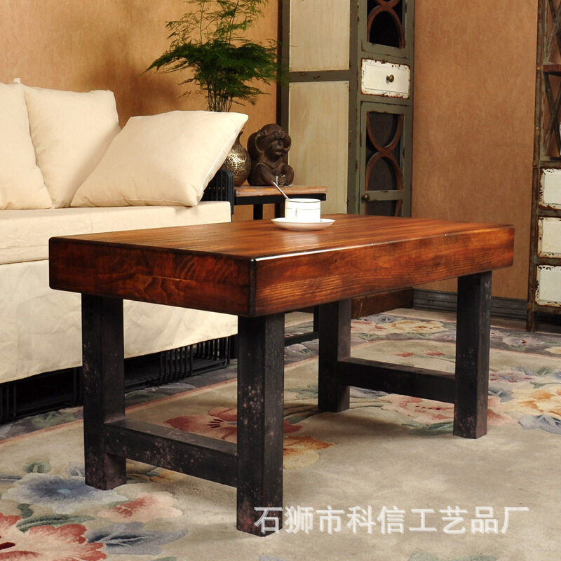 Iron vintage wood coffee table LOFT American country to do rusty French furniture Northern Europe to do the old coffee table cof(China (Mainland))