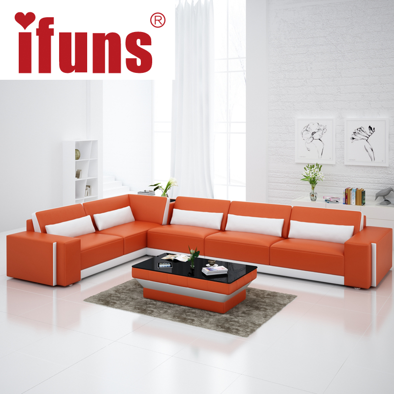 IFUNS Home Furniture Sectional Sofa In Leather Full Living Room Sectional Cou