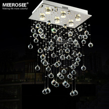Rectangle Crystal Light Fixture Ceiling mounted Living room Bedroom Lamp Lustres de cristals Lighting with real K9 crystals(China (Mainland))