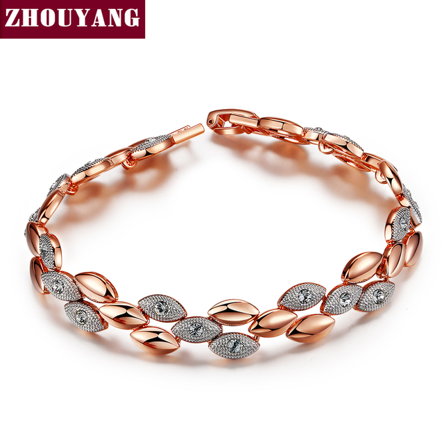 ZHOUYANG Top Quality ZYH014 Frosting Elliptic Charms  Rose Gold Plated Bracelet Jewelry   Austrian Crystals Wholesale
