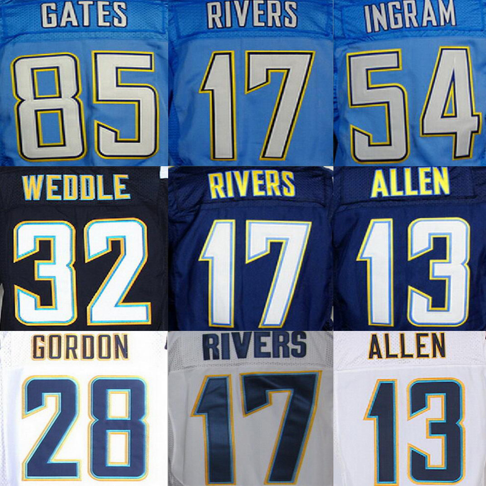 Antonio Gates Jersey Eric Weddle Keenan Allen Melvin Gordon JOEY BOSA Philip Rivers Melvin Ingram Junior Seau Jerseys(China (Mainland))