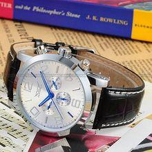 Jaragar marca Vintage Classic plata para hombre analógico mecánico automático banda de cuero caja de acero inoxidable reloj de envío gratis