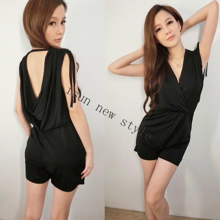 2015 New Summer Stylish Sexy Sleeveless Backless Rompers Solid Short Jumpsuit Women Overalls Party Club Bodysuits For Women(China (Mainland))