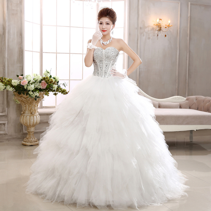 2016 New Swan Bride Diamond Thin Feather Princess Wedding