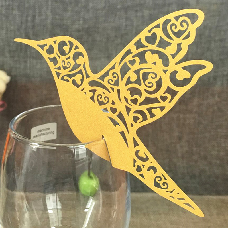 50pcs Gold Bird Shaped Laser Cut Paper Name Place Card / Escort Card / Cup Card/ Wine Glass Card For Wedding Decoration Favors(China (Mainland))