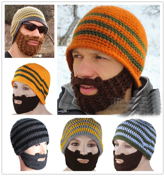 Bicycle Mask Ski Cap roman knight octopus Cool Funny beanies Gift Free shipping 2015 New Handmade Knitted Crochet Beard Hat 466(China (Mainland))
