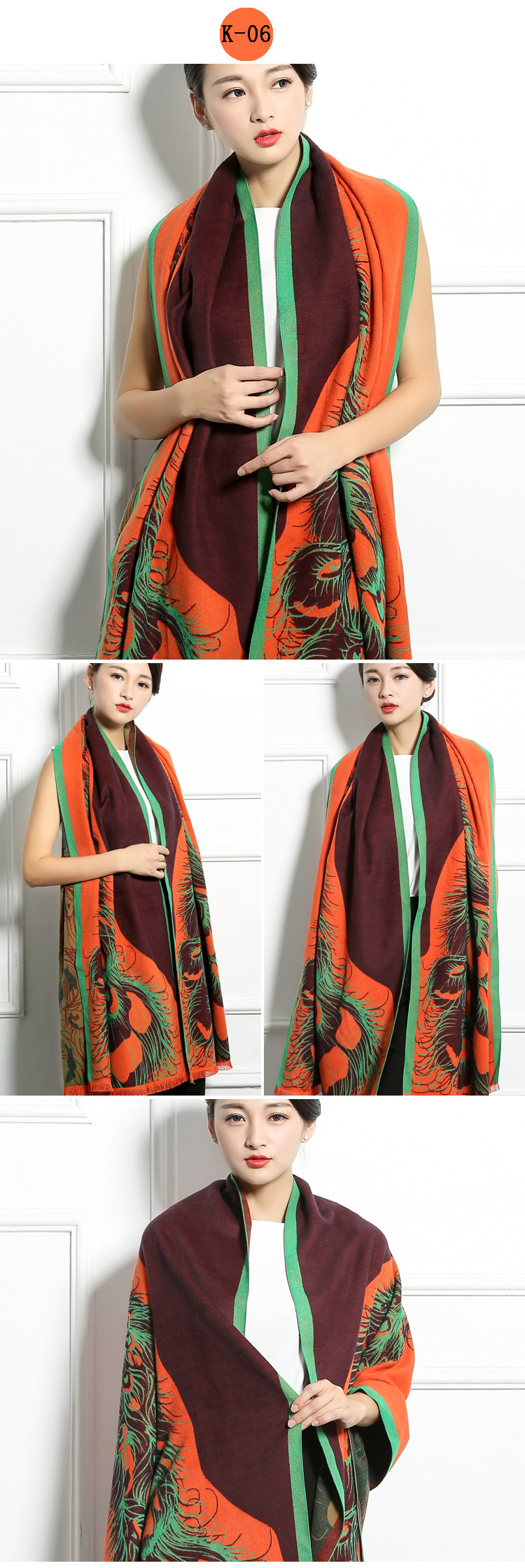 Autumn and winter women scarf print quality cashmere shawls and wraps female oversize scarves lady vintage desigual brand scarf