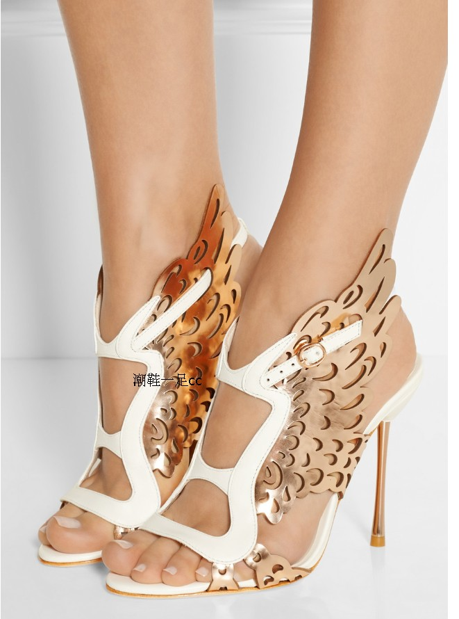 Butterfly Wings Fashion Pumps Woman Sandals 2016 Free Shipping New Genuine Leather Thin high heels Peep toe Pumps Summer Spring <br><br>Aliexpress