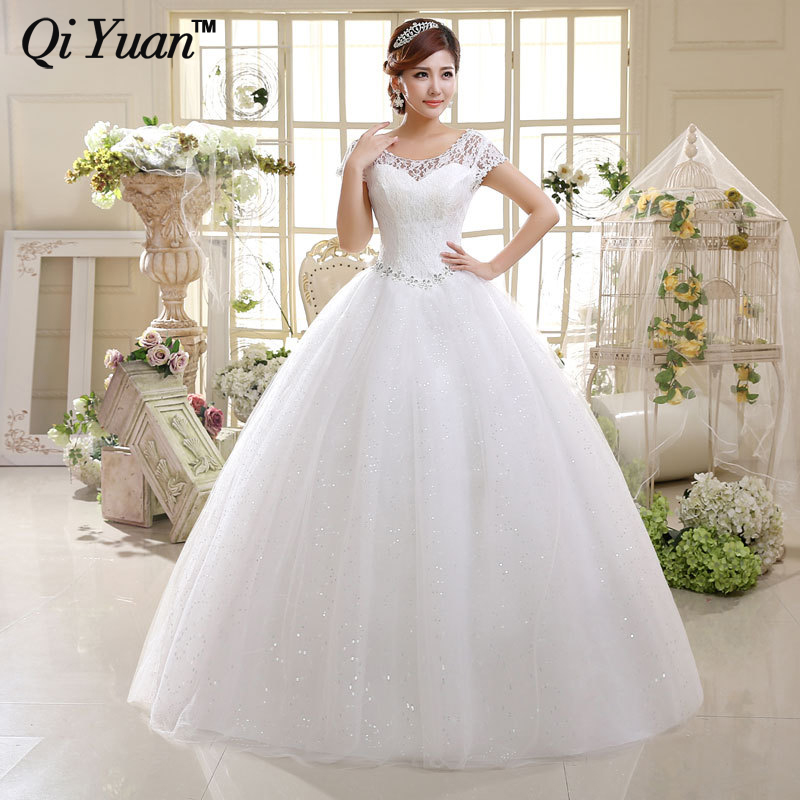 Short Lace Sleeve Summer Style Fashionble Wedding Dress Crystal Wedding Dress