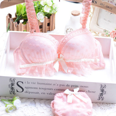 2015 New sexy lingerie embroidery girls deep V gather Push Up sweet font b lace b