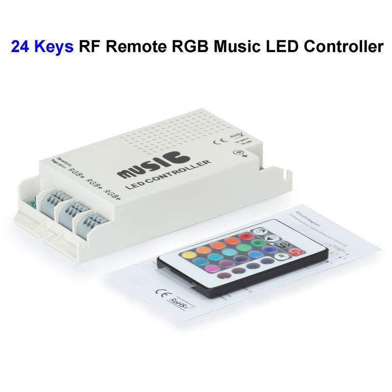 ( 10 pcs/lot ) 12V 24 Keys RGB Music LED Controller Sound Sensor With RF Remote Control For SMD 3528 5050 RGB LED Rigid Strip(China (Mainland))