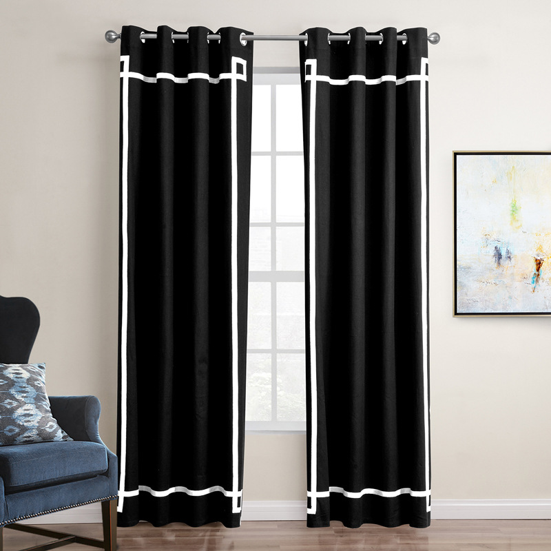 Mordern American Style Black White Gray Shade Cloth Curtian Sheer Curtains For Living Room