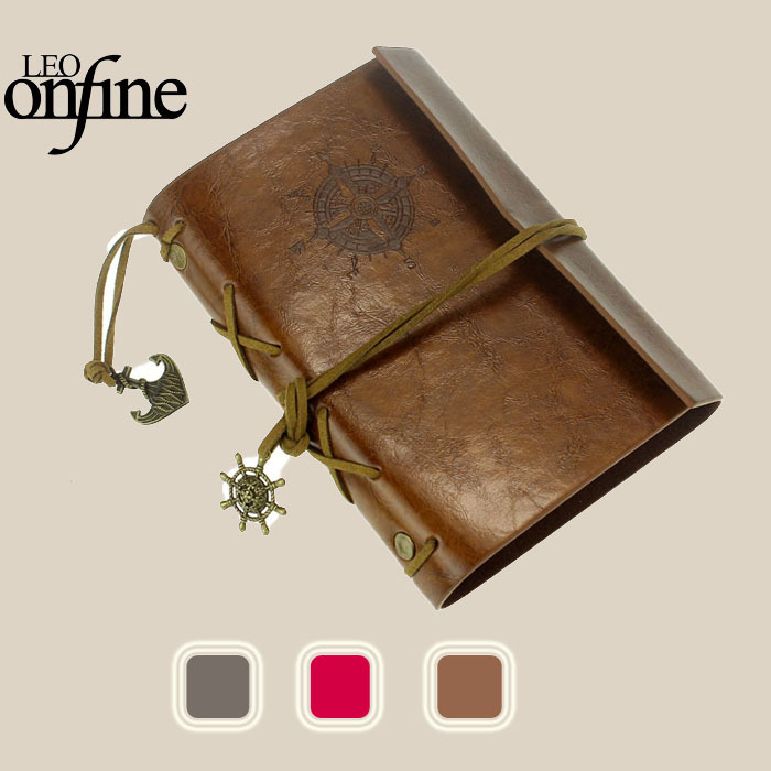 Onfine Vintage Style Leather Cover Notebook Journal Diary Blank String Nautical Free Shipping&Wholesales(China (Mainland))