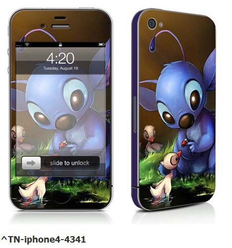 Packaged Super cute cartoon protective Sticker cover for iPhone 4 4S 4g Send mobile theme Free shipping()