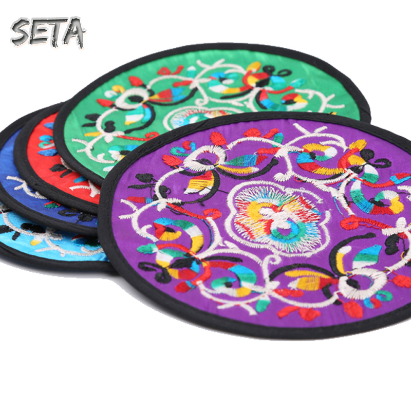 placemat Round Fabric Knitted New Chinese Classical Style Cotton table mat Embroidery Pure Handcrafted Popular coaster NGF005(China (Mainland))