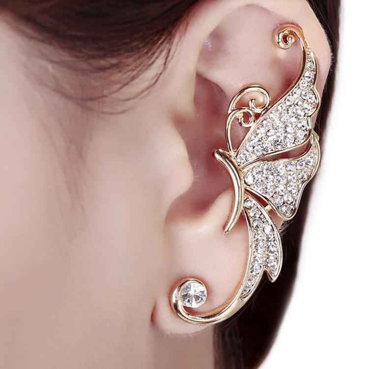 2015 Cute Rhinestone Crystal Butterfly Ear Cuff Clip Cartilage Ear Cuff Earring Ear Clip Jewelry Drop Shipping EAR-0485(China (Mainland))