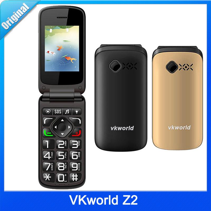 Original VKworld Z2 2.4''Color Display Flip Elders Mobile Phone Dual SIM Card 0.3MP Camera Large Buttom Loud Sound Old Man Phone(China (Mainland))