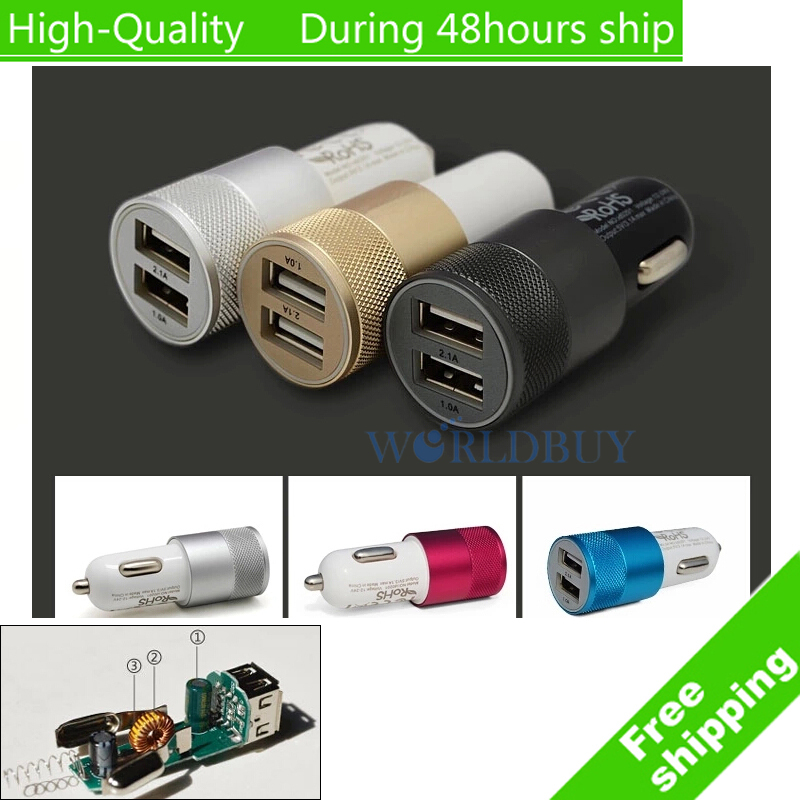 For Sony Xperia Z4 Mini Z4 Compact Mini Aluminum Universal 12V 2.1A Dual Usb Car Charger Adapter Cable Free Shipping(China (Mainland))
