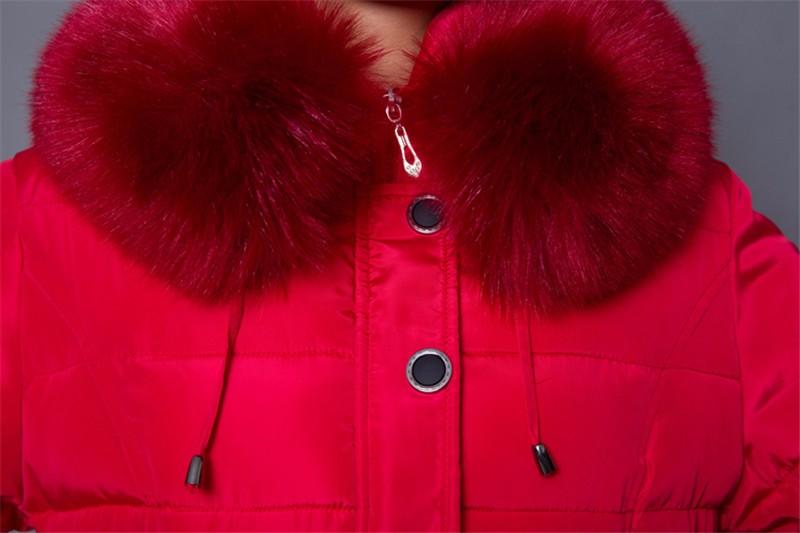 Скидки на 2016 Высокое Качество Зима Женщины Пуховик Мода Длинный Толстый теплый Хлопок Женщин Меховой Воротник Тонкий Пальто Шинель куртка Плюс размер