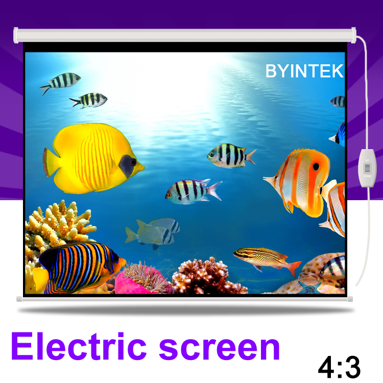 New Home Theater High Gain 84inch 4:3 Electric Synchronous Motorized Projection HD LCD LED DLP Projector Screen Free Shipping(China (Mainland))
