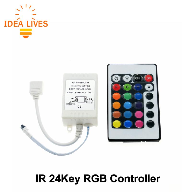 LED RGB Controller DC12V 24Keys IR Remote Controller for SMD 3528 5050 RGB LED Strip Lights(China (Mainland))