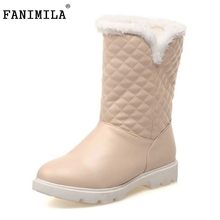 Buy Women Flat Half Short Boots Winter Thicken Fur Snow Warm Mid Calf Boot Plush Fashion Quality Footwear Shoes Size 34-39 for $25.90 in AliExpress store