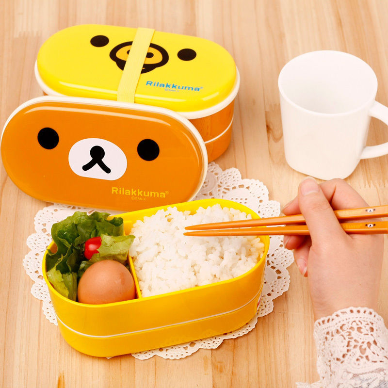 1 Brown Microwave Rilakkuma Bento Yellow Microwave Nostrils Chickens Multilayer Children Lunch Box HOT with Chopsticks(China (Mainland))