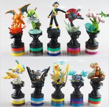 3 style 10pcs/set Pokemon Figure toy Pikachu Charizard PVC Action FIgure toy 8-10CM Pokemon chess For FGA423 OPP Bag Packaging