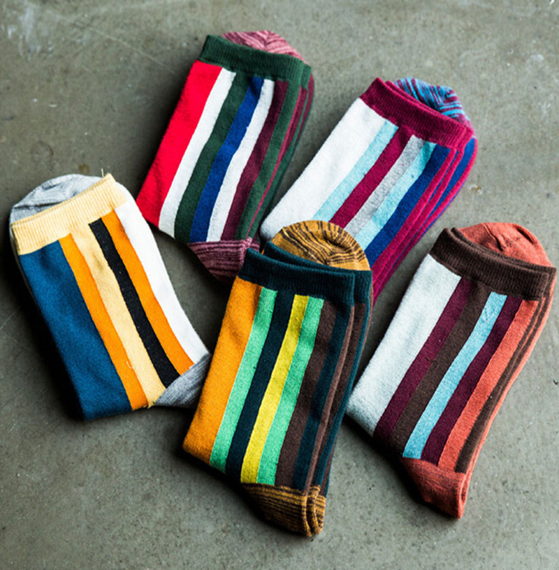 Spring and autumn vintage candy color block the trend of vertical stripes socks casual all match