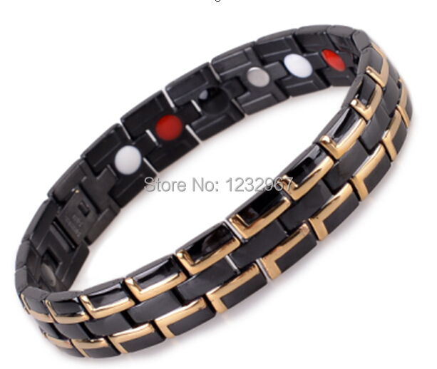 Free Shipping! 4in 1 Bio Men European Titanium Steel Energy Magnetic Germanium Therapy Radiation Fatigue Health Bracelet(China (Mainland))