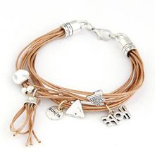 Fashion Rope Multi Layer Chain Bracelets Bangles Women Vintage Jewelry Handmade Charm Bracelets 2015 Pulseira Masculina(China (Mainland))