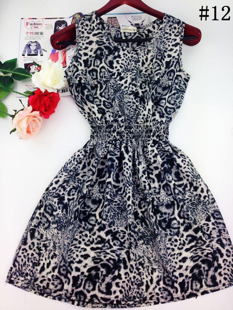 2015 весна лето осень новых корейских женщин случайные чешские цветочные рукавов леопарда жилет печатных пляжные шифоновое платье WC0344